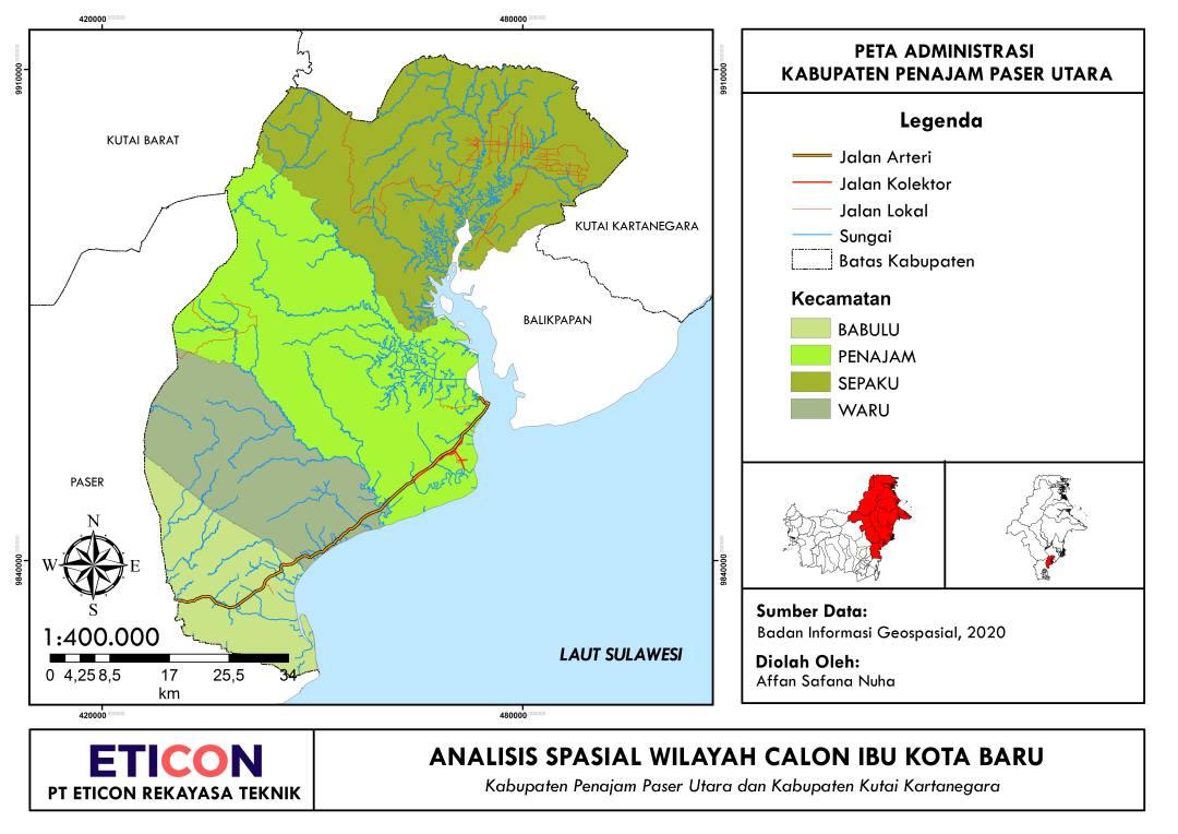 Peta Administrasi Penajam Paser Utara