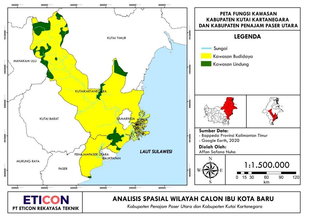 Peta Fungsi Kawasan Kutai Kartanegara dan Penajam Paser Utara